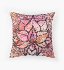 Mandala lotus zen yoga asian meditation doodle watercolor Throw Pillow