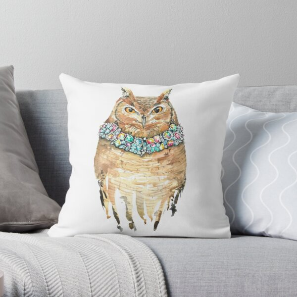 Watercolor Glamour Owl Wearing diamonds Throw Pillow
