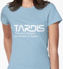 NASA Worm Logo TARDIS (White) Womens Fitted T-Shirt