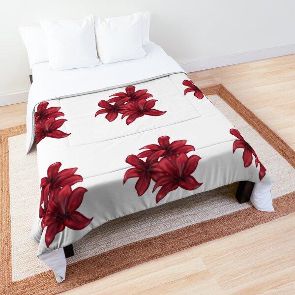 Rote Blüten / rote Blumen Tagesdecke