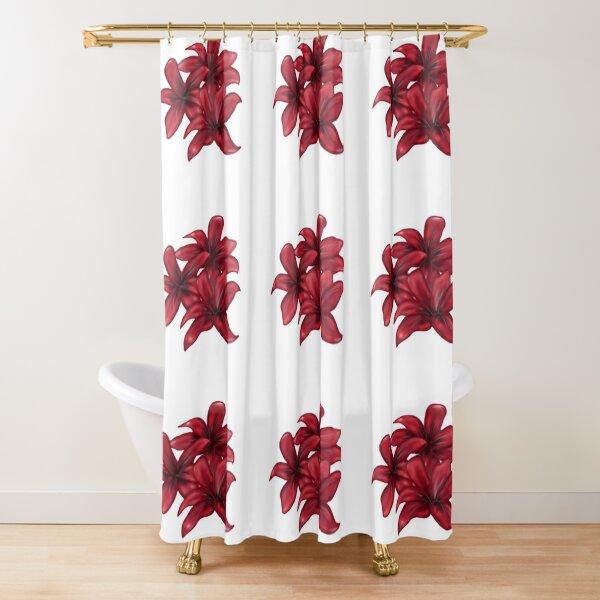 Rote Blüten / rote Blumen Duschvorhang