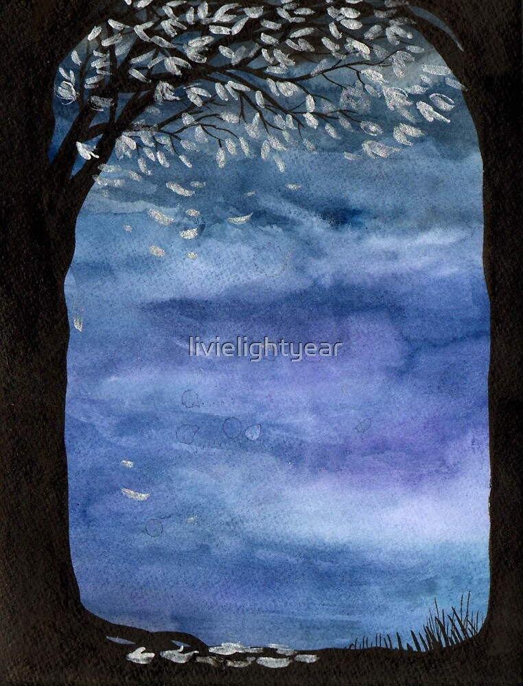 Blue sky, Tree watercolor painting by livielightyear