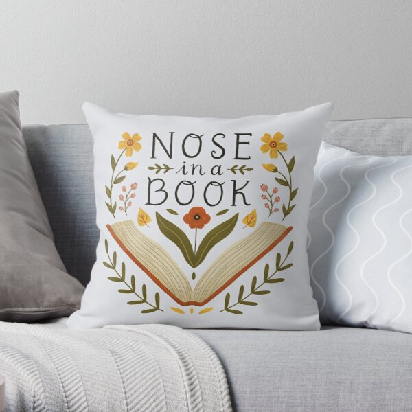 Nose in a Book Throw Pillow