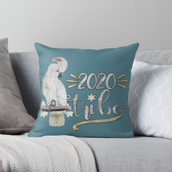 Fluffy New Year Pet Bird Lover White Cockatoo [Silver Words] Throw Pillow