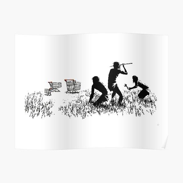 Banksy Chariots Hommes Chasse Chariots De Supermarché Oeuvre Reproduction pour Impressions Affiches T-shirts Hommes Femmes Enfants Poster