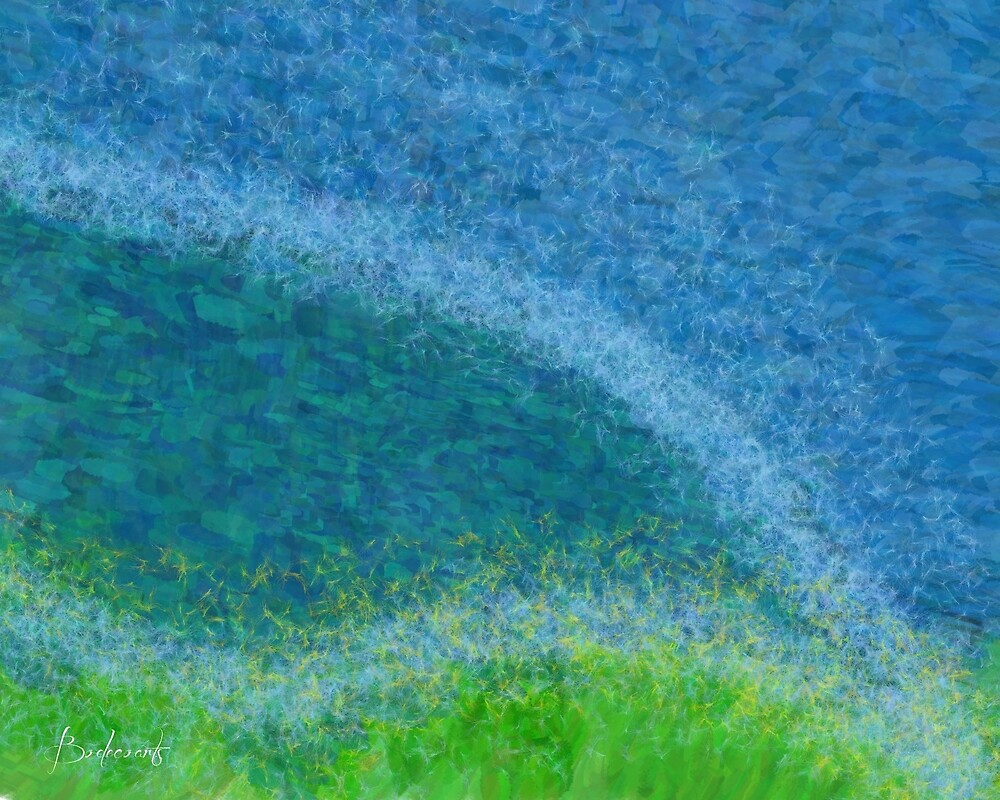 Dandelions in the Mower digital abstract painting by Bodecoa