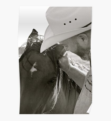 Man and Wild Mustang Poster