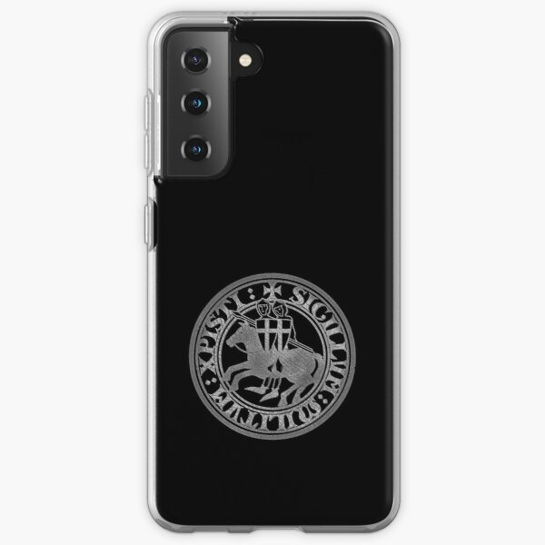 Deus Vult Knight Templar logo crusaders grunge gray and black eroded vintage seal coat of arm on horse on black background Samsung Galaxy Soft Case