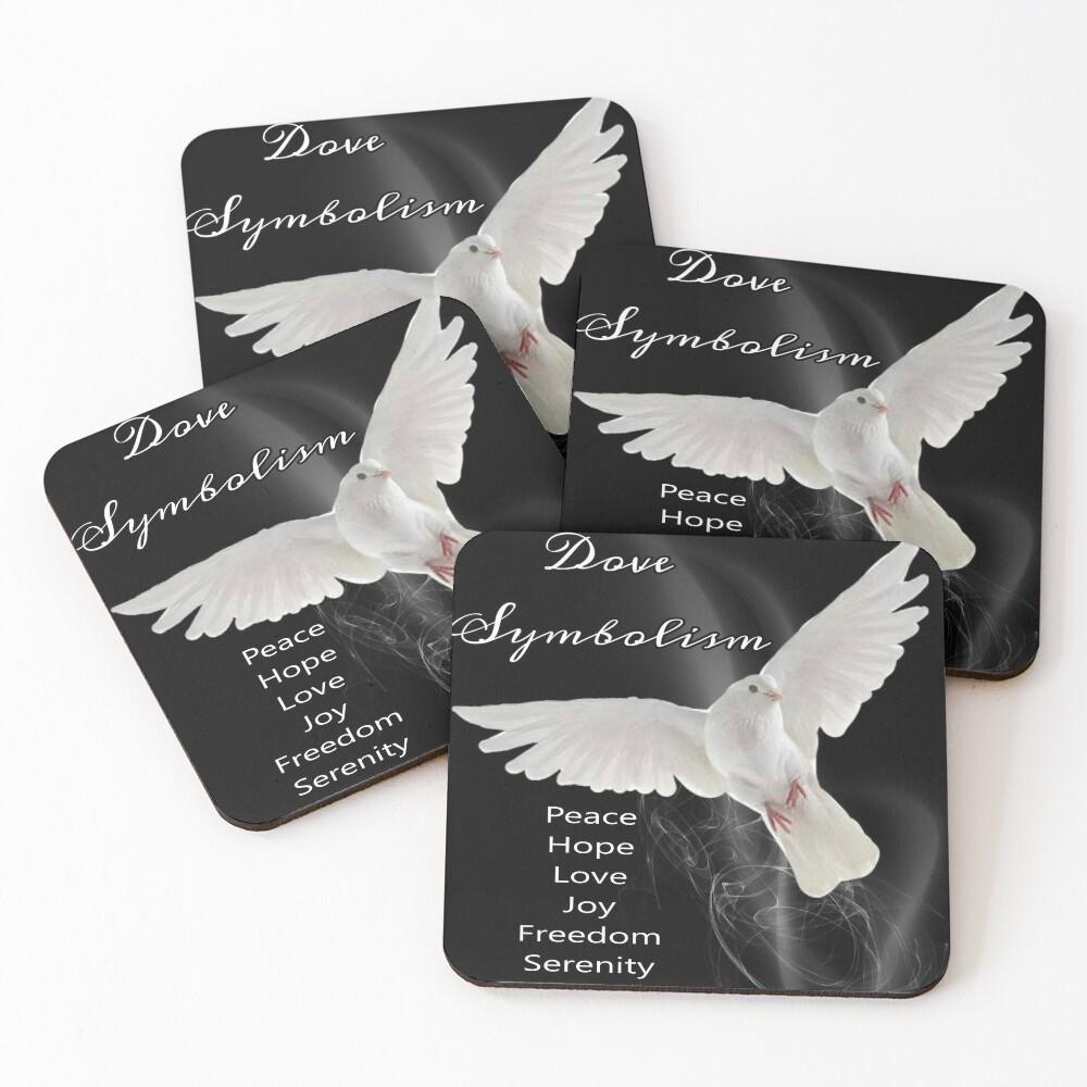 Dove Symbolism Totem Spirit Guide Coasters (Set of 4)
