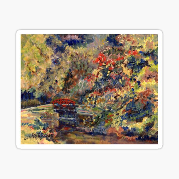 Autumn on the Delaware Canal, Pt Pleasant, Bucks County, Pennsylvania. From original oil impressionist oil painting. Sticker