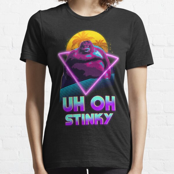 Uh Oh Stinky Poop Le Monke 80s Vaporwave Outrun Style  Essential T-Shirt