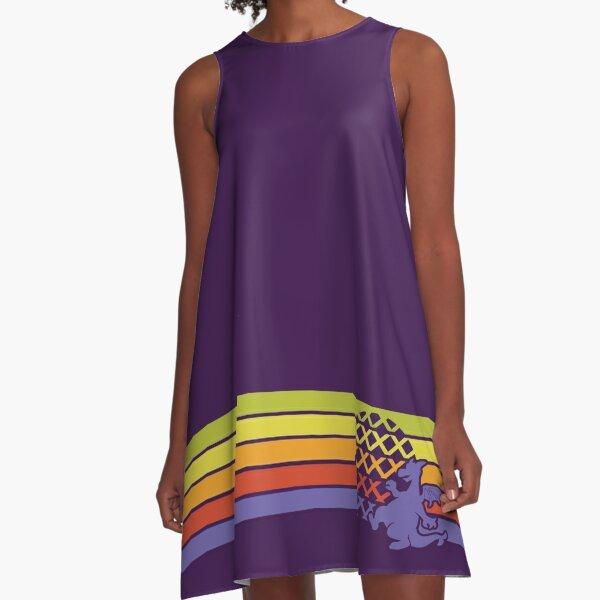 Retro Dragon Stripes A-Line Dress
