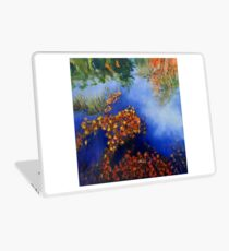 The wind scatters the golden leaves Laptop Skin