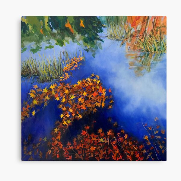 The wind scatters the golden leaves Canvas Print