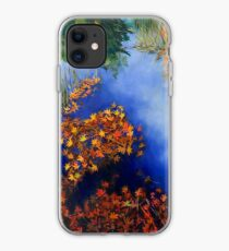 The wind scatters the golden leaves iPhone Case