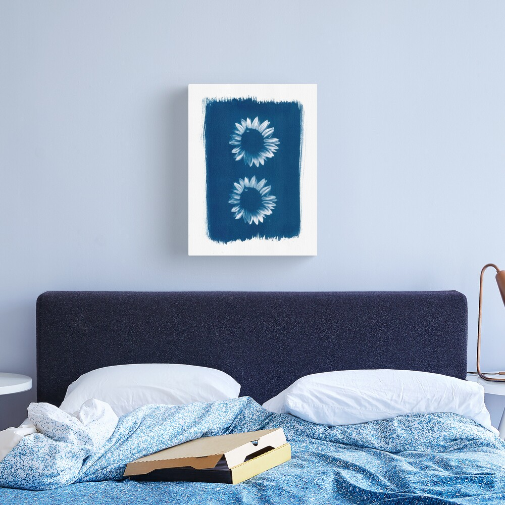 Two Sunflowers in Blue Cyanotype Print Canvas Print