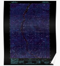 USGS Topo Map Oregon Warner Mountain 282020 1986 24000 Inverted Poster
