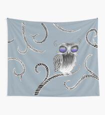 Owl let you hang around (white) Wall Tapestry