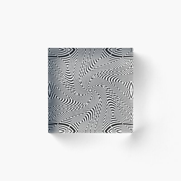 #Pattern, #funky, #repetition, #intricacy, endless, textile, repeat, illusion, abstract Acrylic Block