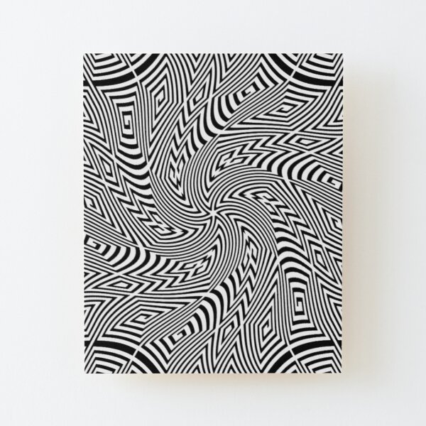 #Pattern, #funky, #repetition, #intricacy, endless, textile, repeat, illusion, abstract Wood Mounted Print