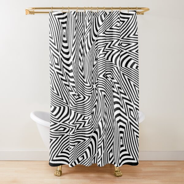 #Pattern, #funky, #repetition, #intricacy, endless, textile, repeat, illusion, abstract Shower Curtain