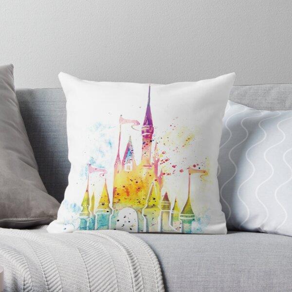 Watercolor Princess Castle Throw Pillow