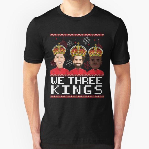 Ugly Christmas Sweater  'We Three Kings' Liverpool Football, Bobby Firmino, Mo Salah & Sado Mane.  Slim Fit T-Shirt