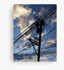 blue sky telephone wires Canvas Print