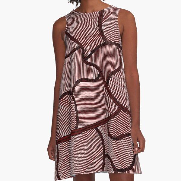 Authentic Aboriginal Art - Farm Lands A-Line Dress