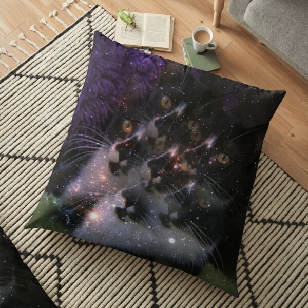 Sammie the Tuxedo Cat Kaleidoscope  Floor Pillow