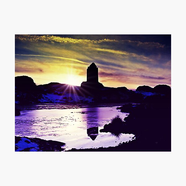 Silhouettes Of Smailholm, Scotland Photographic Print