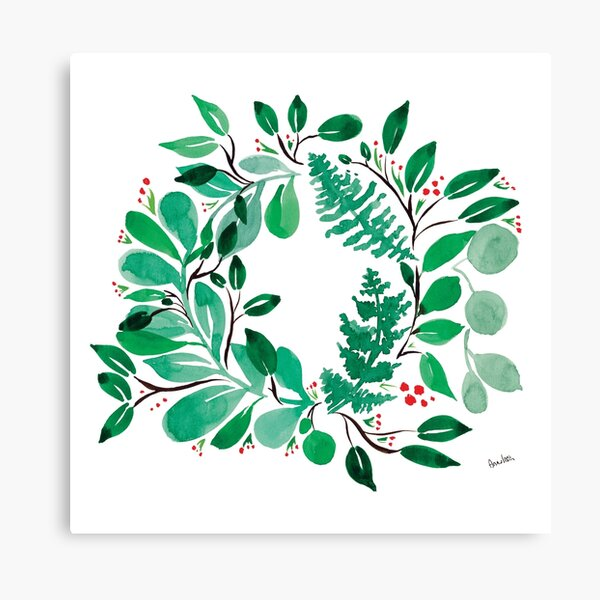 Sweet leaves wreath Canvas Print