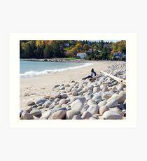 A Beach in Autumn Art Print