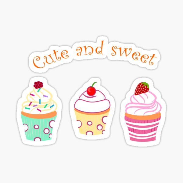 Cute and Sweet cupcake Sticker
