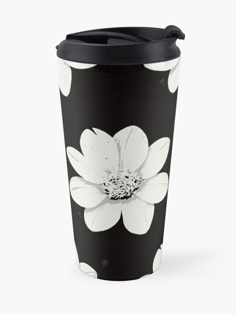 Alternative Ansicht von Weiß und Schwarz Blumen Thermobecher