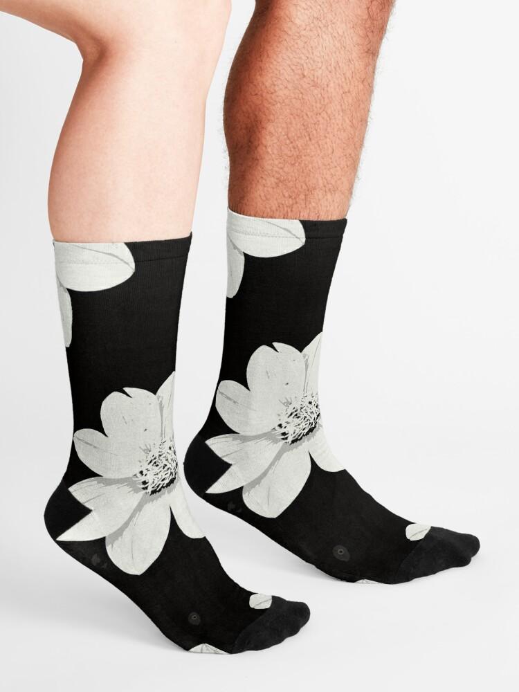 Alternative Ansicht von Weiß und Schwarz Blumen Socken