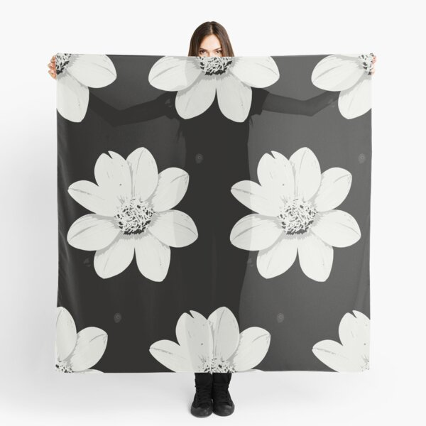 Black and white flowers contrast Scarf