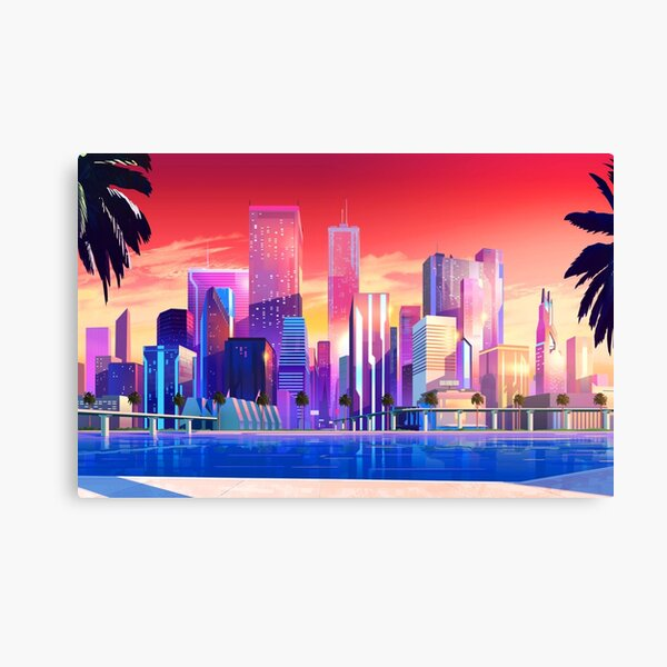 Synthwave Neon City: Vice City Canvas Print