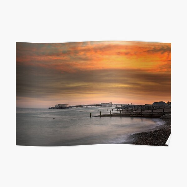 Worthing Beach Sunset Poster