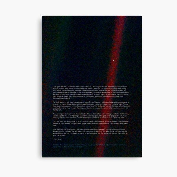 Pale Blue Dot — Voyager 1 & Carl Sagan quote ⛔ HQ-quality Canvas Print