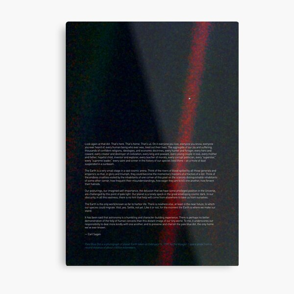 Pale Blue Dot — Voyager 1 & Carl Sagan quote ⛔ HQ-quality Metal Print