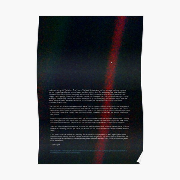 Pale Blue Dot — Voyager 1 & Carl Sagan quote ⛔ HQ-quality Poster