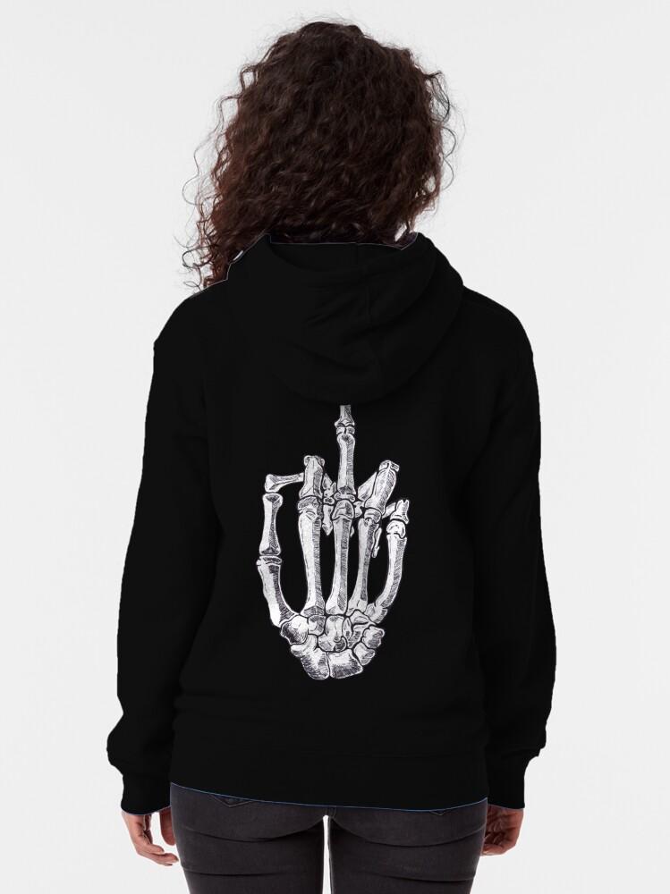 Alternate view of Skeletal Middle Finger Zipped Hoodie