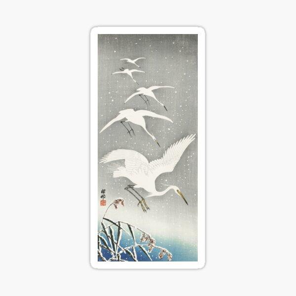Descending egrets in snow Sticker