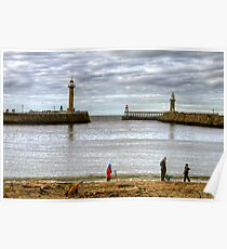 The Lighthouses and Twin Piers at Whitby Poster