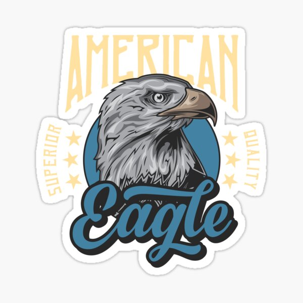 American Eagle inscription printed on products. Sticker