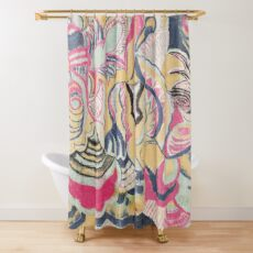 Aunt M's original vintage fabric design No 1 Shower Curtain