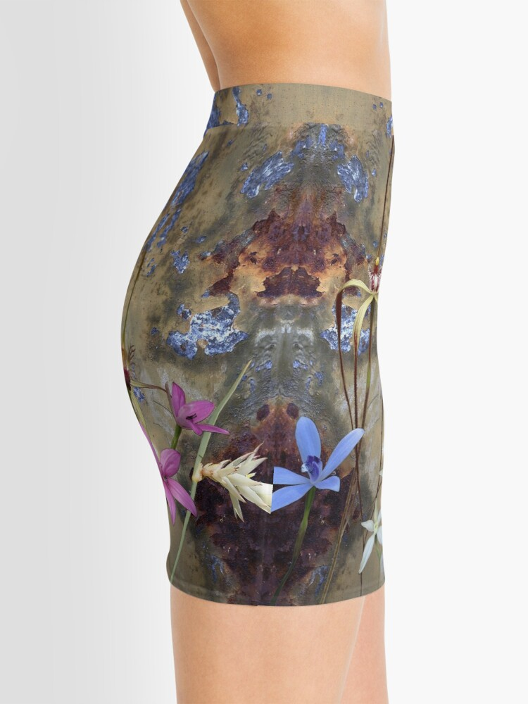 Alternate view of Silky Blue & Orchids with Blue Rusty Metal, native orchids of Western Australia. Mini Skirt