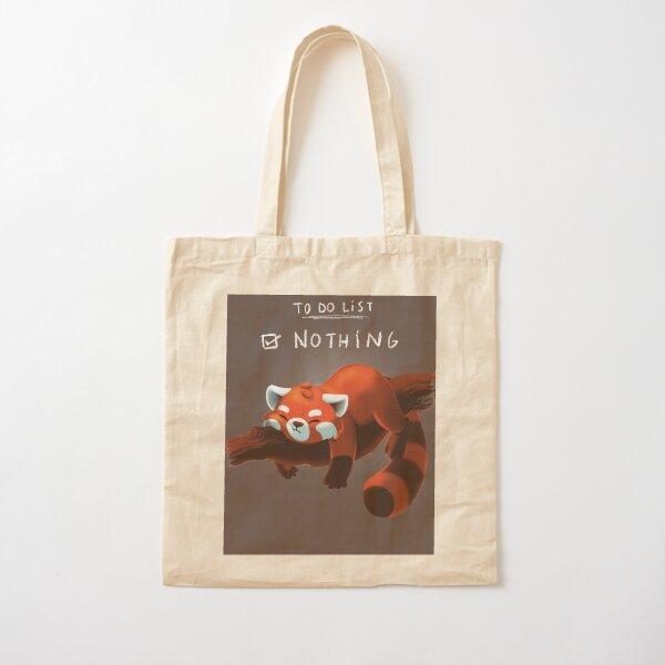 panda red Cotton Tote Bag