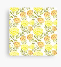 Peony. Yellow and peach color flowers. Summer mood. Delicate nature background. Canvas Print
